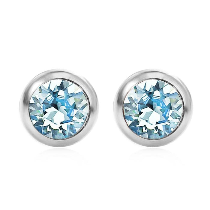 March Solitare Swarovski Birthstone Earrings