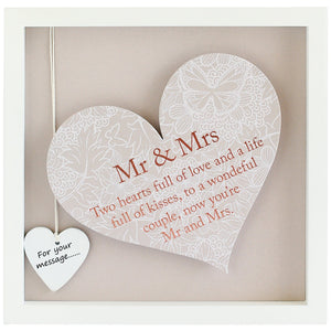 Mr & Mrs Sentiment Heart Frame - Said with Sentiment from thetraditionalgiftshop.com