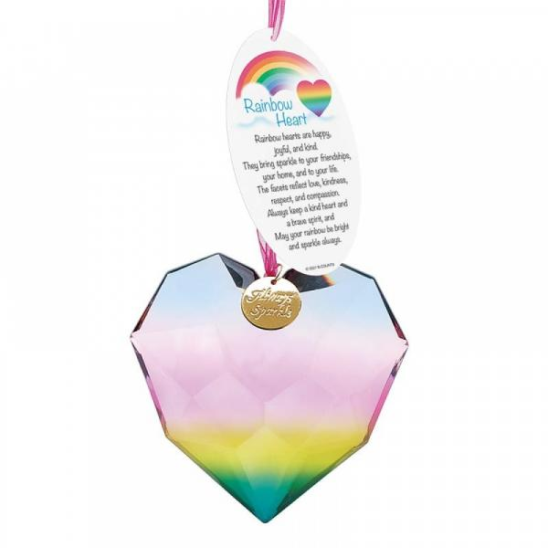 Rainbow Heart (Blue) Facet Suncatcher - Facets Suncatchers by Department 56 from thetraditionalgiftshop.com