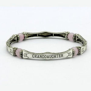 Rose Quartz Granddaughter Sentiment Bracelet - Pure by Coppercraft from thetraditionalgiftshop.com