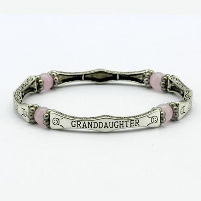 Rose Quartz Granddaughter Sentiment Bracelet