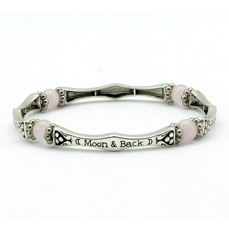 Rose Quartz Love You To The Moon And Back Sentiment Bracelet