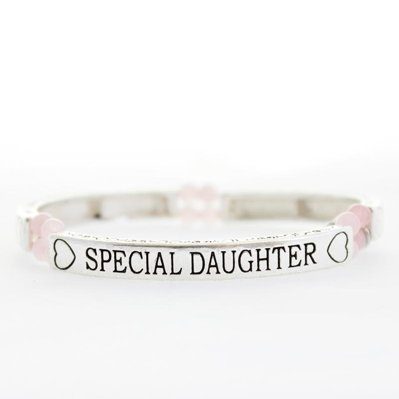 Rose Quartz Special Daughter Sentiment Bracelet