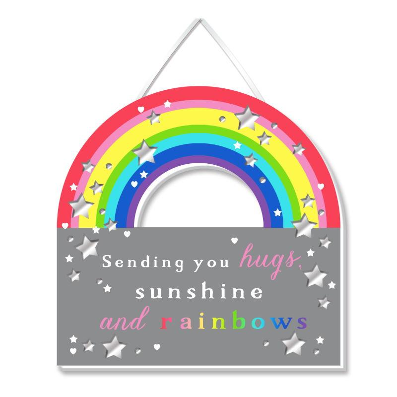Sending Rainbow Hugs Plaque - WPL More Than Words from thetraditionalgiftshop.com
