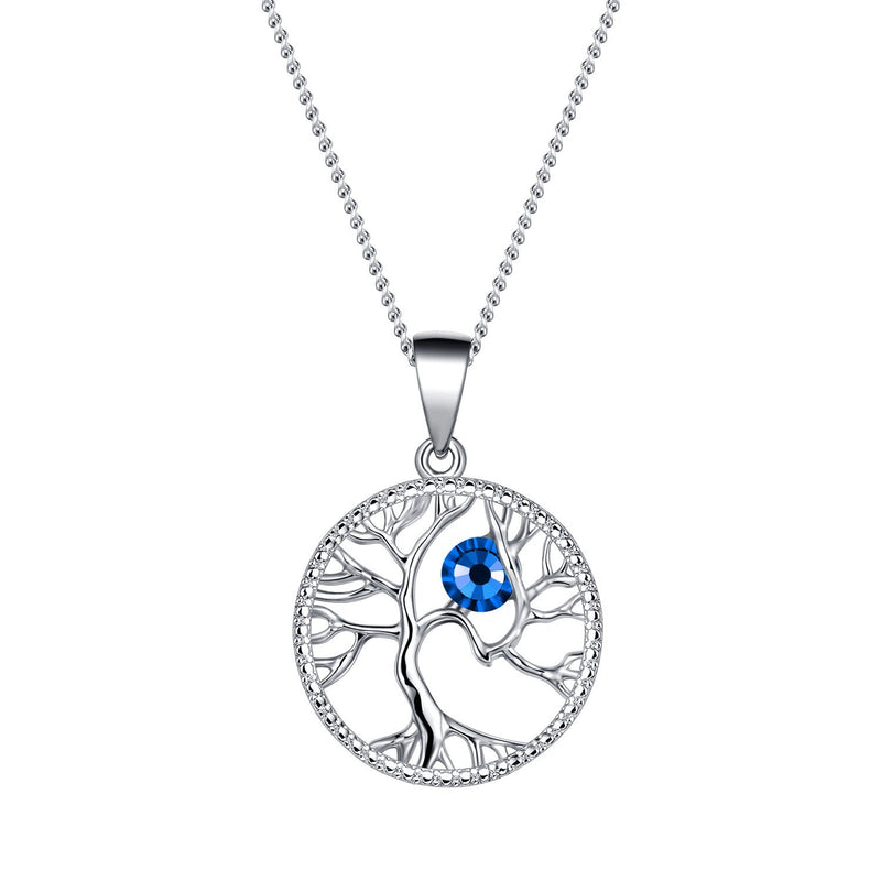 September Tree of Life Swarovski Birthstone Necklace