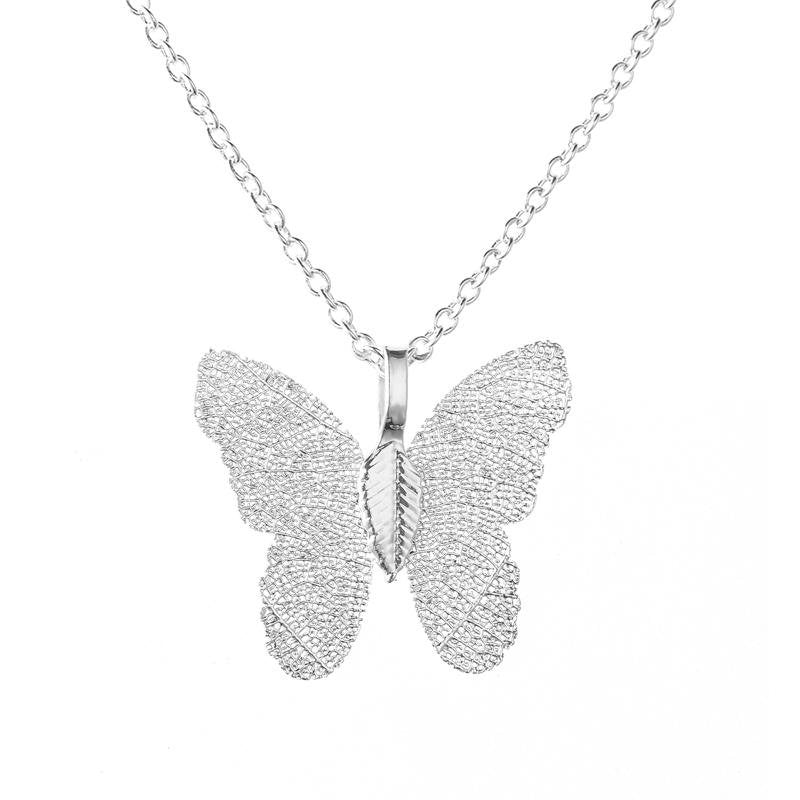 Silver Butterfly Leaf Necklace