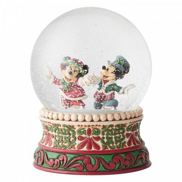 Splendid Skaters Waterball (Micky & Minnie Mouse) (Snowglobe) - Disney Traditions from thetraditionalgiftshop.com