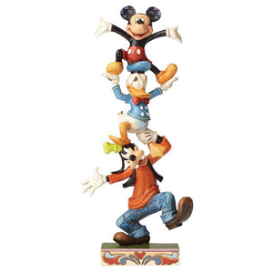 Teetering Tower (Goofy, Donald Duck & Mickey Mouse Figurine) - Disney Traditions from thetraditionalgiftshop.com