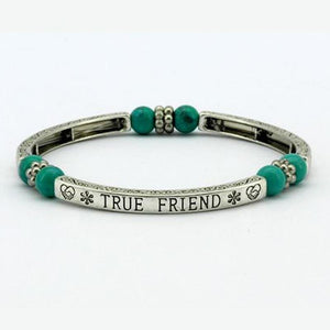 Turquoise True Friend Sentiment Bracelet - Pure by Coppercraft from thetraditionalgiftshop.com