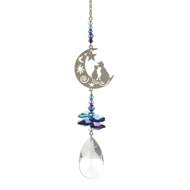 Two Cats in the Moon (Moonlight) Crystal Fantasies Suncatcher