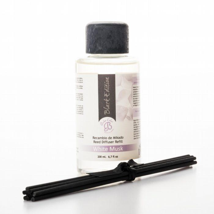 White Musk Mikado Black Edition Reed Diffuser Oil Refill (200ml) - Mikado Black Edition Reed Diffusers from thetraditionalgiftshop.com