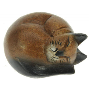 Wooden Curled Sleeping Cat - Namesakes Wood from thetraditionalgiftshop.com