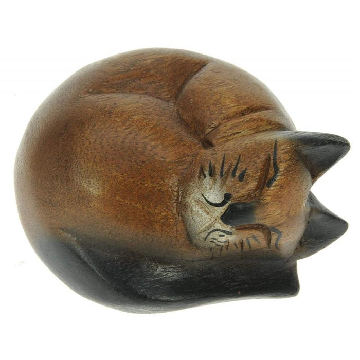 Wooden Curled Sleeping Cat