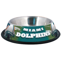 Miami Dolphins Dog Bowl-Stainless Steel