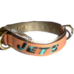 New York Jets Leather Dog Collar