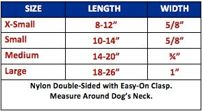 licensed dog collar nylon size