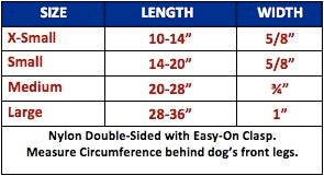 licensed dog harness sizes