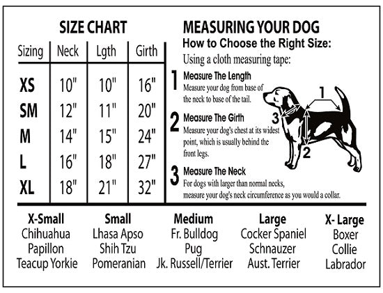 Licensed Dog Tee Sizes