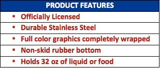 Licensed Stainless Steel Dog Bowl Features