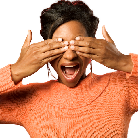 Black Woman Covering Eyes