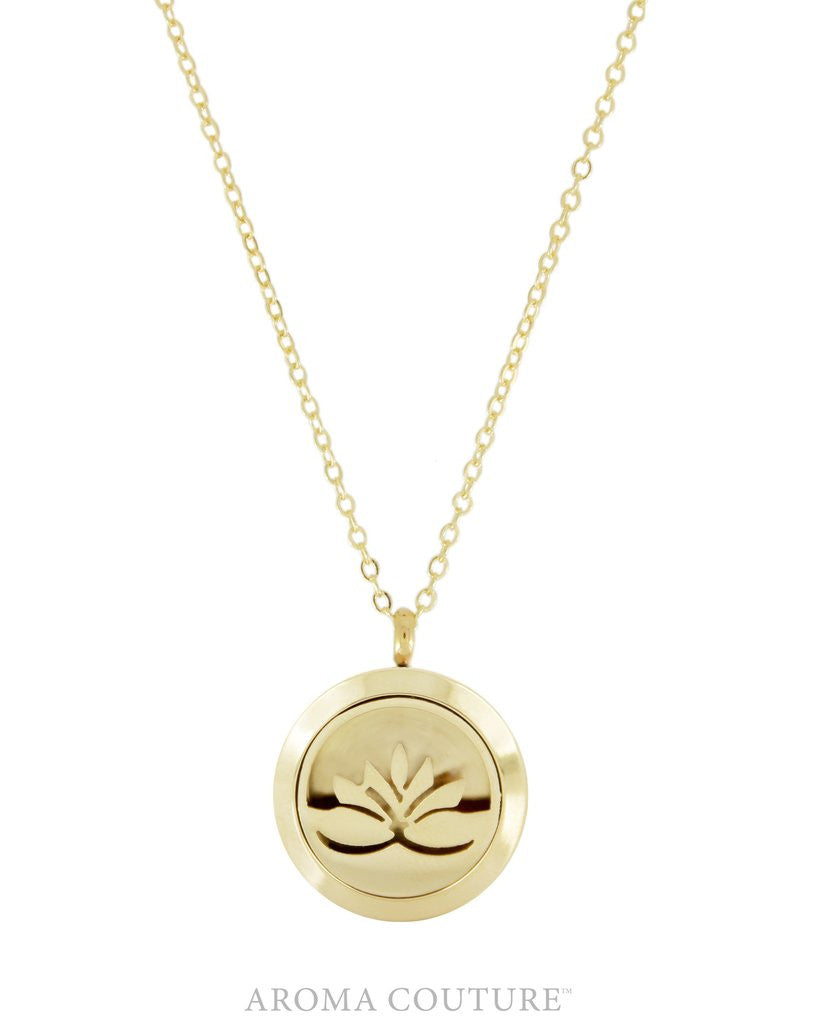 Lotus Flower Gold 25mm Diffuser Necklace Ezenssi