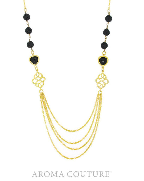 "Francesca Black Onyx Lava 24"" Diffuser Necklace"