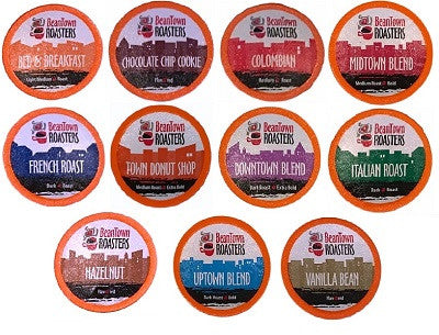 96 Count K cups Choose 11 or 15 Distinct Coffee Variety Pack No Decaf Beantown Roasters Coffee