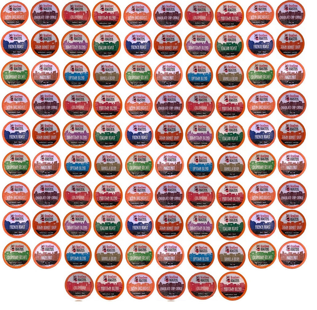 K-cups 96 Count Variety Pack 12 or 16 Different Fresh Roasted Beantown Roasters Coffees