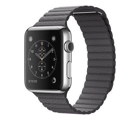 Apple - Apple Watch 42mm Stainless Steel case - Medium Storm Gray Leather Loop Band