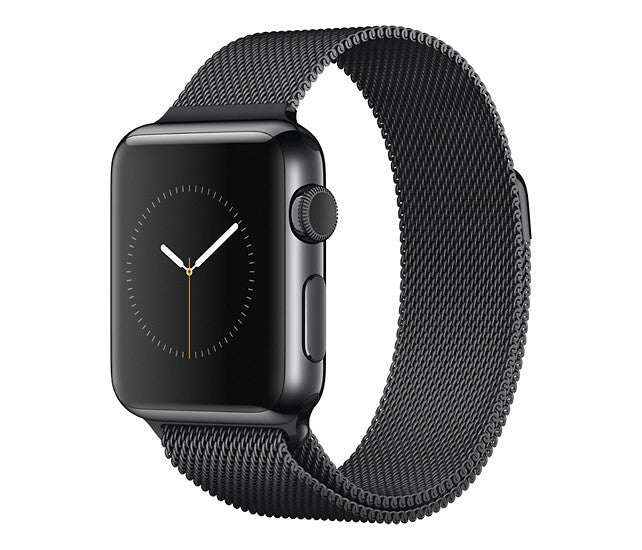 Apple - Apple Watch 42mm Space Black Stainless Steel Case - Space Black Milanese Loop Band