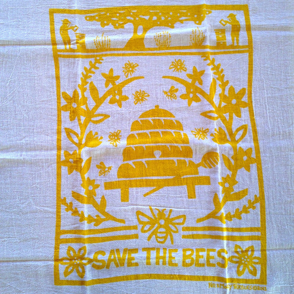 Save The Bees Flour-Sack Dish Towel by Kei & Molly (Yellow)