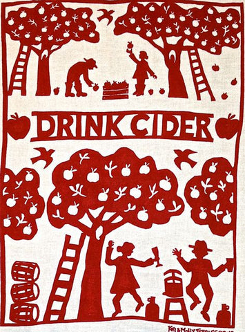 """Drink Cider"" flour-sack dish towel by Kei & Molly (5 colors)"