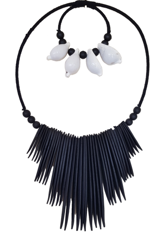 Large Shell Black Tribal Necklace