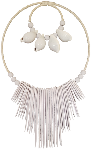 Large Shell White Tribal Necklace