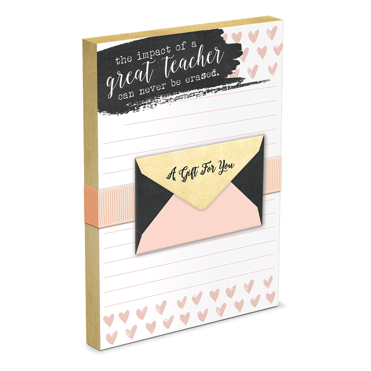 chalk hearts teacher note pad with gift card holder