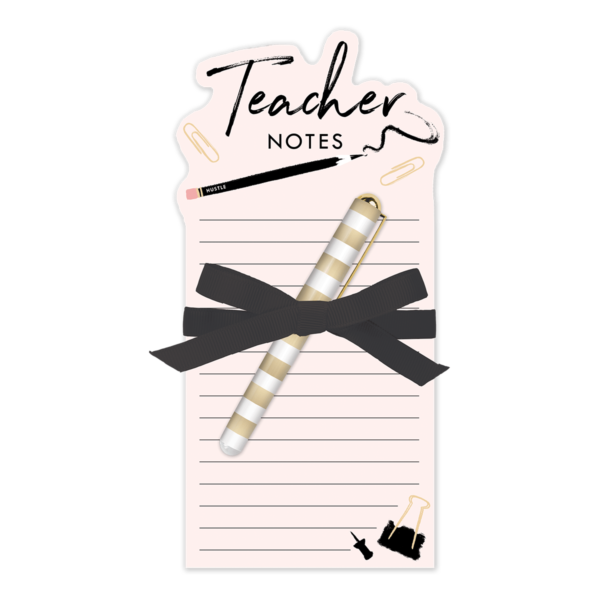 teacher notes die-cut note pad with pen