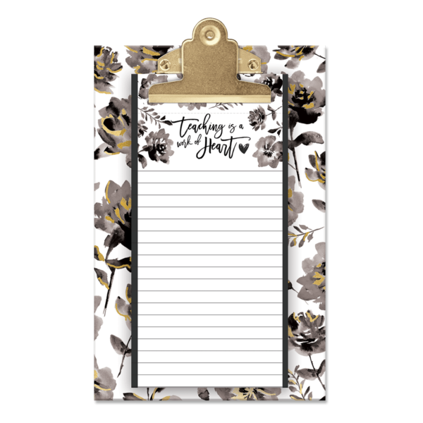 gray floral teacher clipboard set
