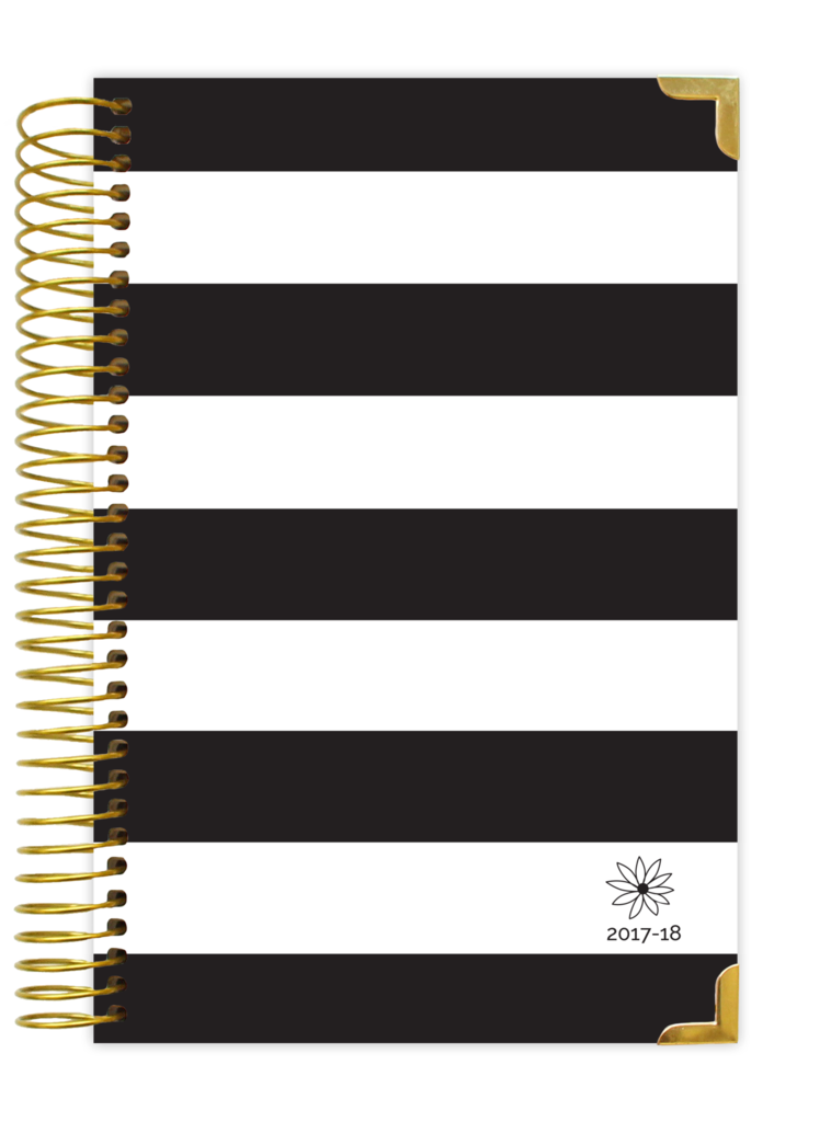 2017-18 DAILY PLANNER, BLACK & WHITE STRIPES HARD COVER