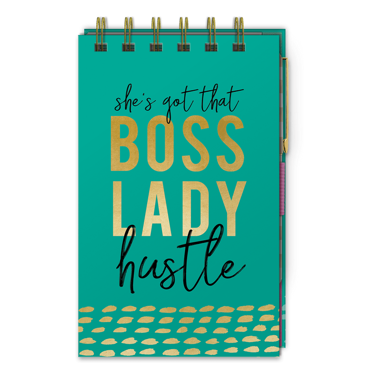 boss lady hustle top spiral bound notepad with pen