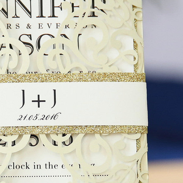 Modern Ivory Laser cut - Wedding Invitations