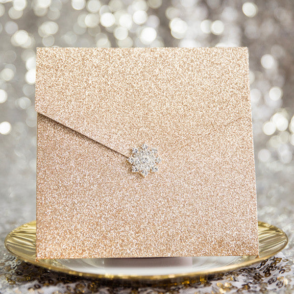 Modern Rose Gold Glittery Pocket Wedding Invitations Olivia