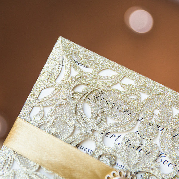 Luxurious Gold Glittery Laser Cut With Pearl   Wedding Invitations