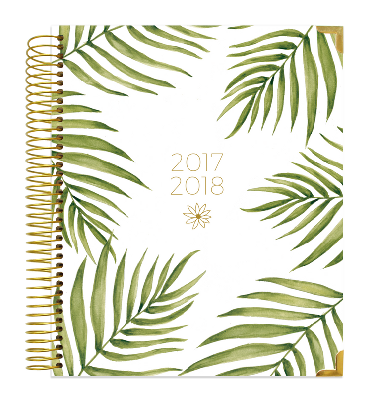2017-18 HARD COVER VISION PLANNER, PALM LEAVES