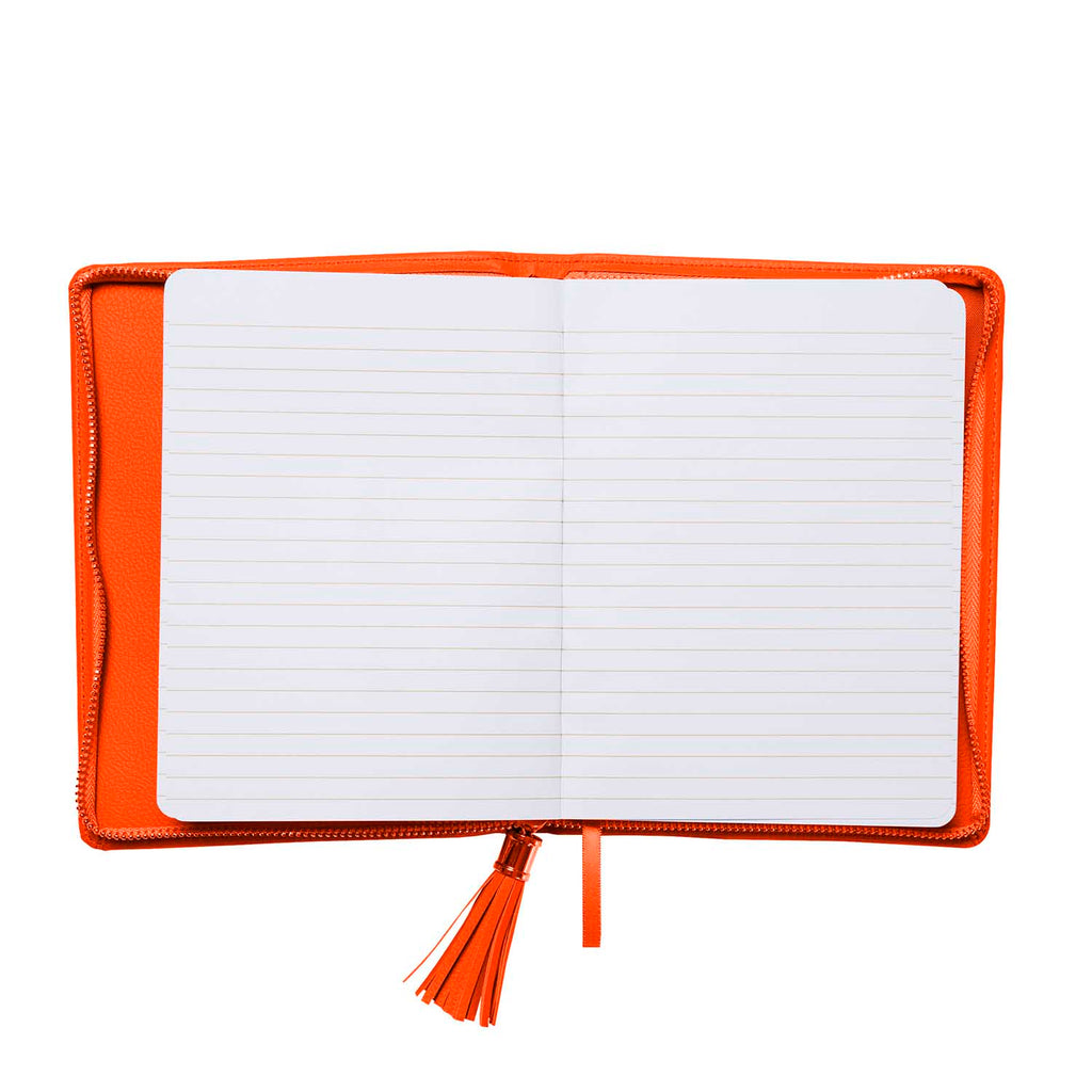 Zipper Leatherette Journal - Orange