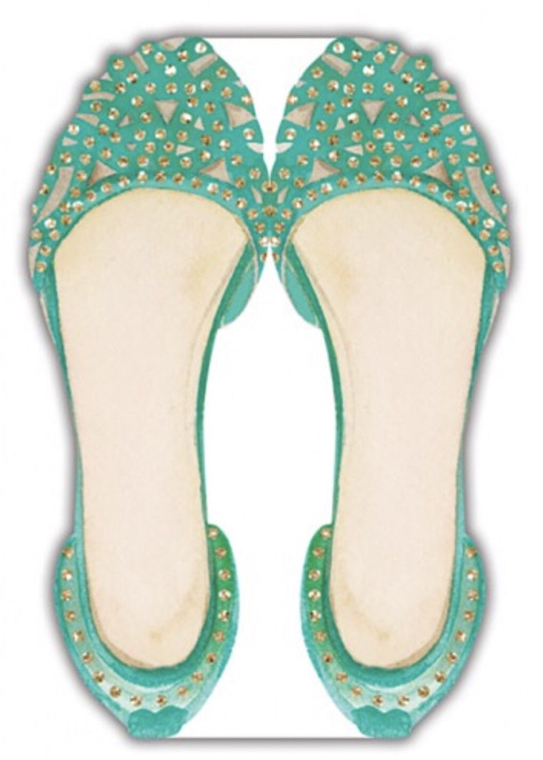 Green Shimmer Shoe Notepad - Olivia Sophia Stationery