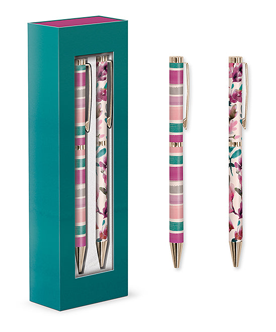Pressed leaves boxed pen set of 2