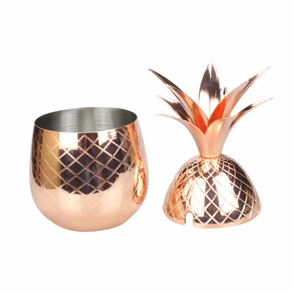 2017 New Arrival Modern Design 304 Stainless Steel Pineapple Cocktail Glass 500ML Cocktail Drinking Cups Mugs For Club Rose Gold