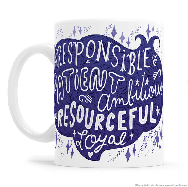 Zodiac Capricorn Hand Lettered Mug by Kathy Weller