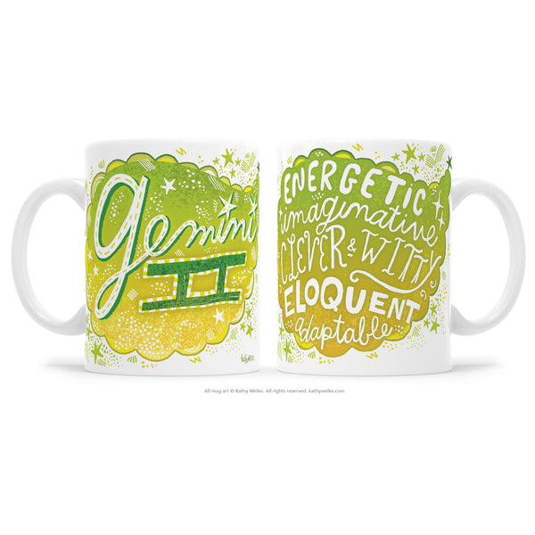 Gemini Zodiac Two-Sided Hand Lettered Mug by Kathy Weller