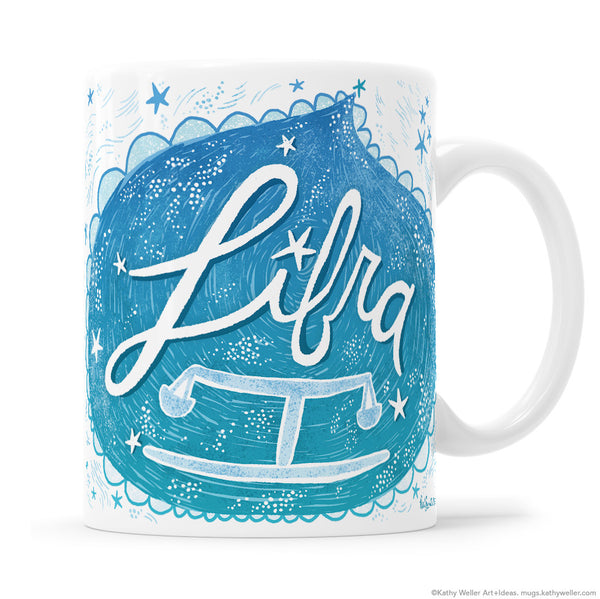Zodiac Astrology Sign Libra Hand Lettered Mug by Kathy Weller